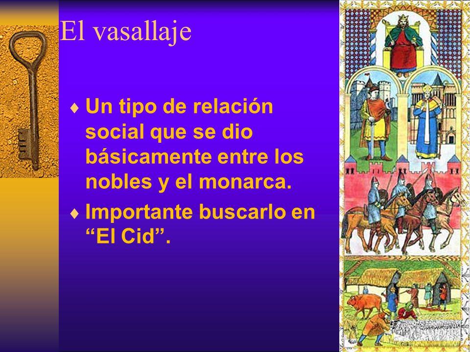 El vasallajeUn tipo de relación social que se dio básicamente entre los nobles y el monarca.