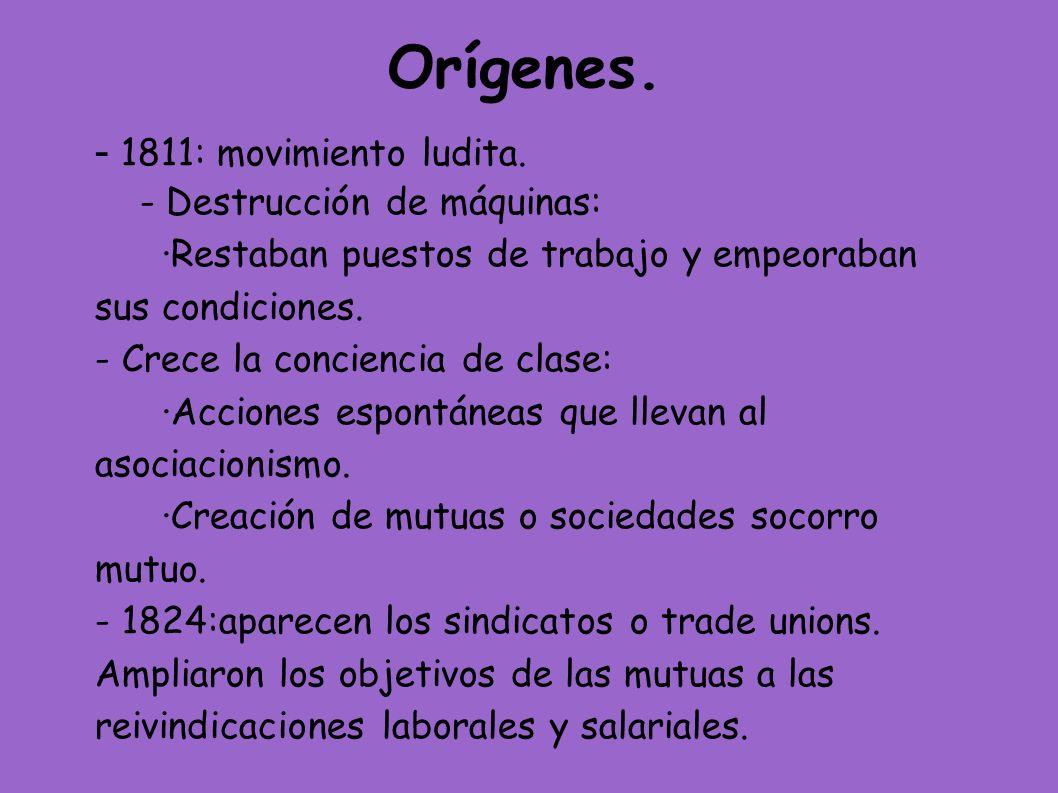 Orígenes. - 1811: movimiento ludita. - Destrucción de máquinas: