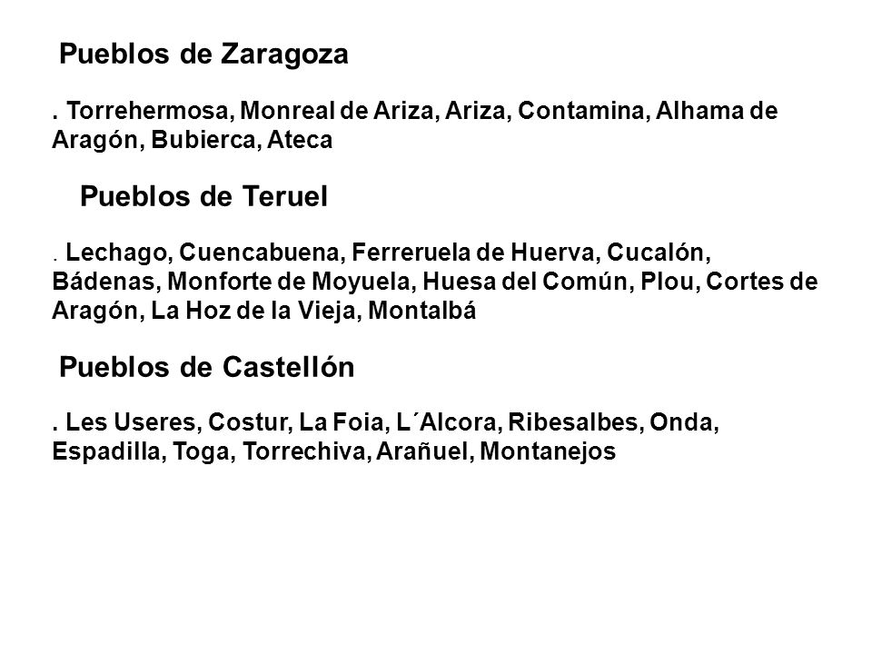 Pueblos de Zaragoza . Torrehermosa, Monreal de Ariza, Ariza, Contamina, Alhama de Aragón, Bubierca, Ateca.