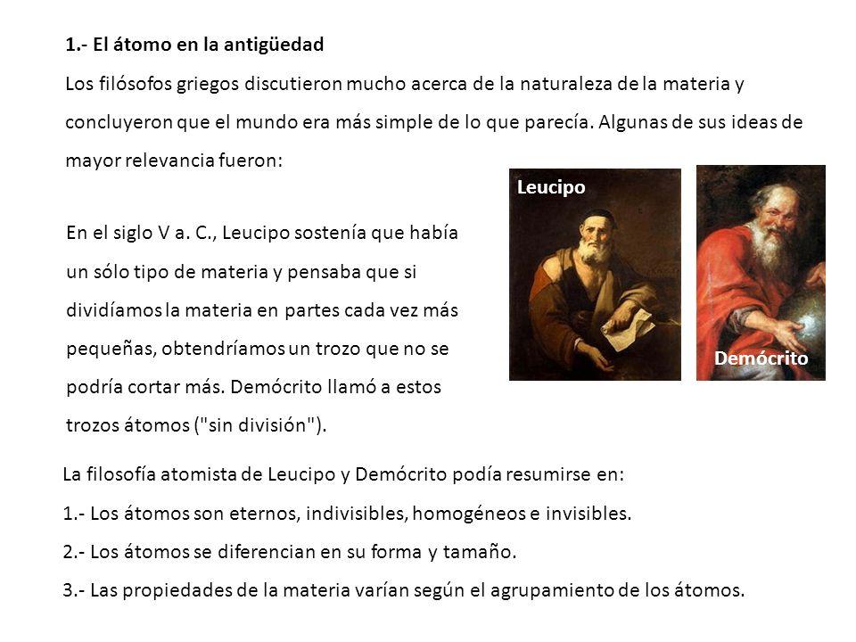 1.- El átomo en la antigüedad