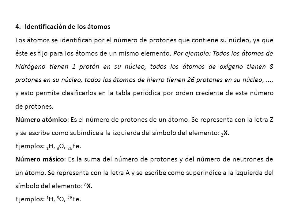 4.- Identificación de los átomos