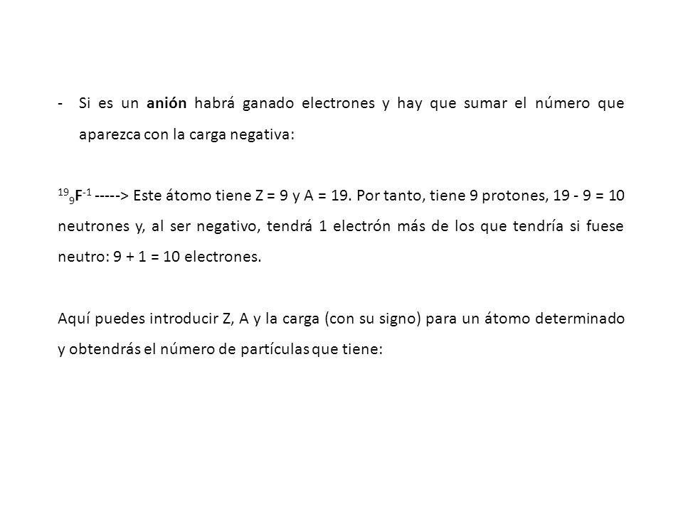 Si es un anión habrá ganado electrones y hay que sumar el número que aparezca con la carga negativa: