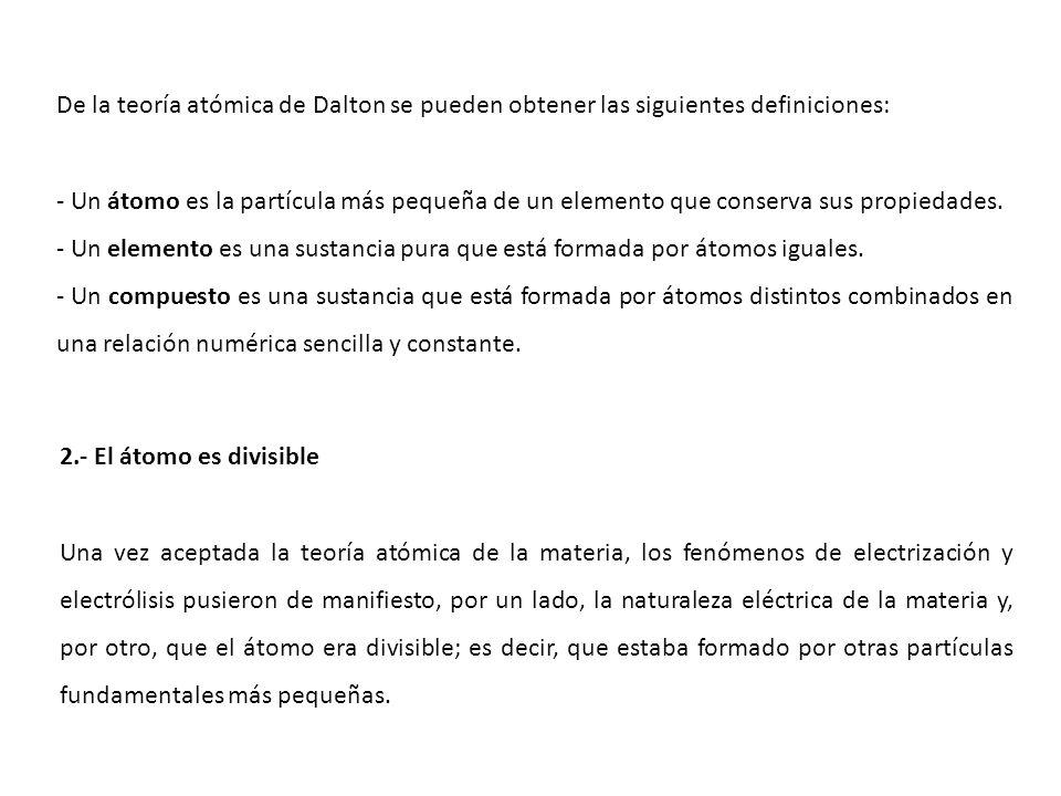 De la teoría atómica de Dalton se pueden obtener las siguientes definiciones: