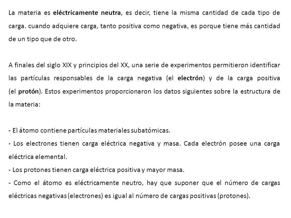 La materia es eléctricamente neutra, es decir, tiene la misma cantidad de cada tipo de carga. cuando adquiere carga, tanto positiva como negativa, es porque tiene más cantidad de un tipo que de otro.
