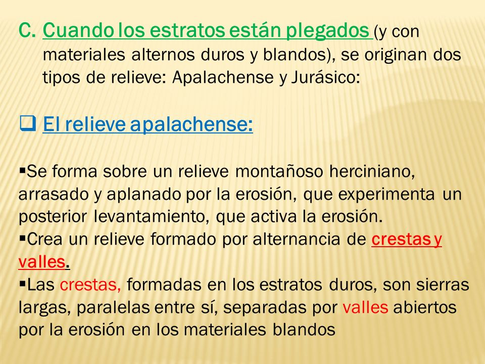 El relieve apalachense: