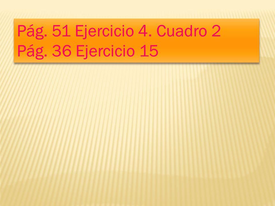 Pág. 51 Ejercicio 4. Cuadro 2 Pág. 36 Ejercicio 15