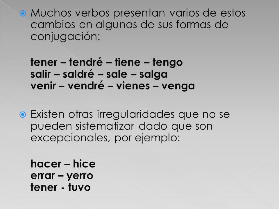 Muchos verbos presentan varios de estos cambios en algunas de sus formas de conjugación: