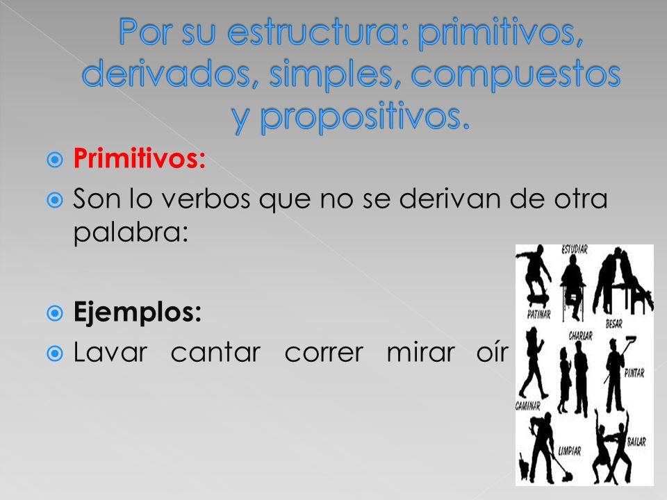 Por su estructura: primitivos, derivados, simples, compuestos y propositivos.
