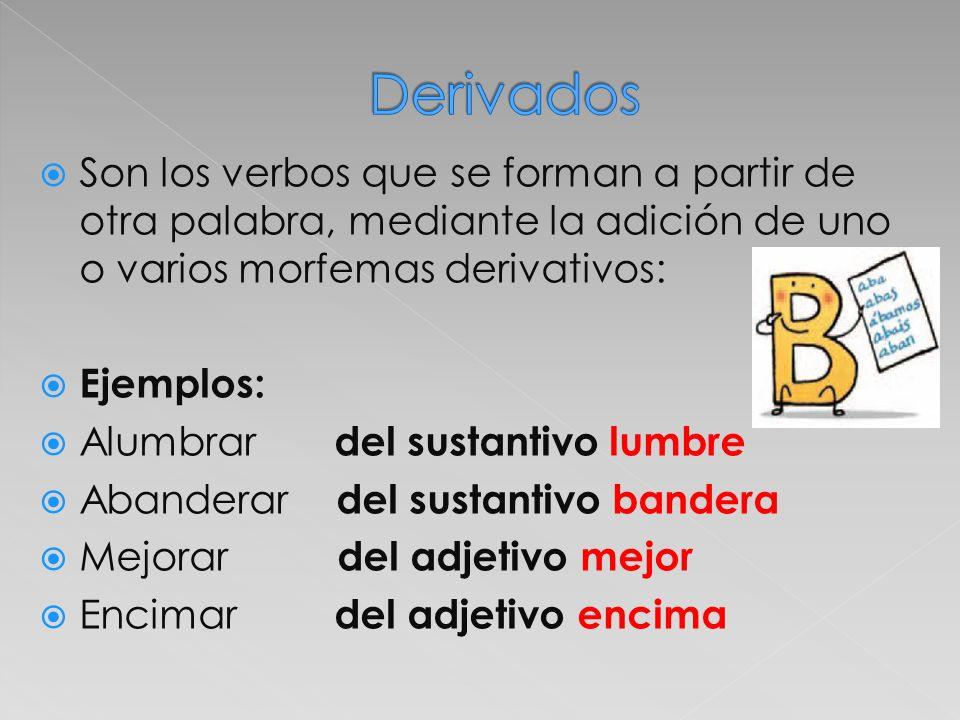Derivados Son los verbos que se forman a partir de otra palabra, mediante la adición de uno o varios morfemas derivativos:
