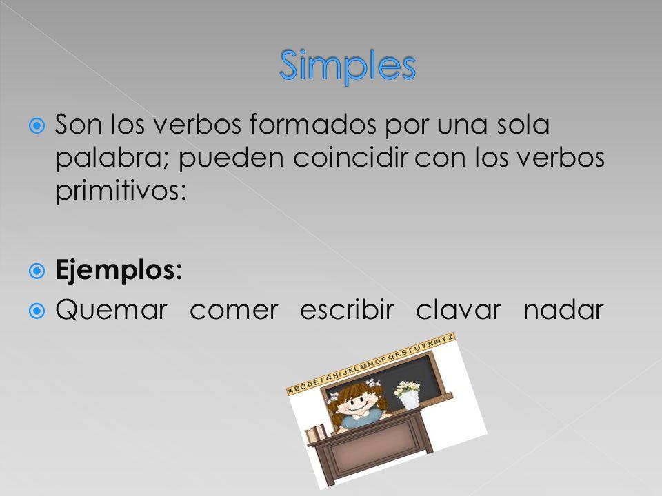 Simples Son los verbos formados por una sola palabra; pueden coincidir con los verbos primitivos: Ejemplos: