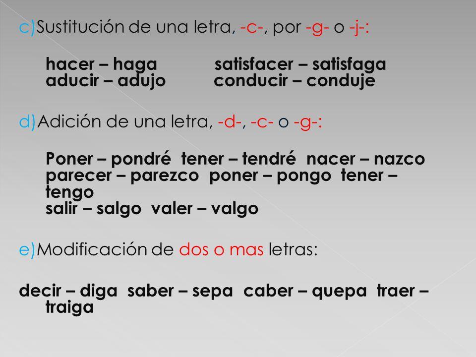 c)Sustitución de una letra, -c-, por -g- o -j-: