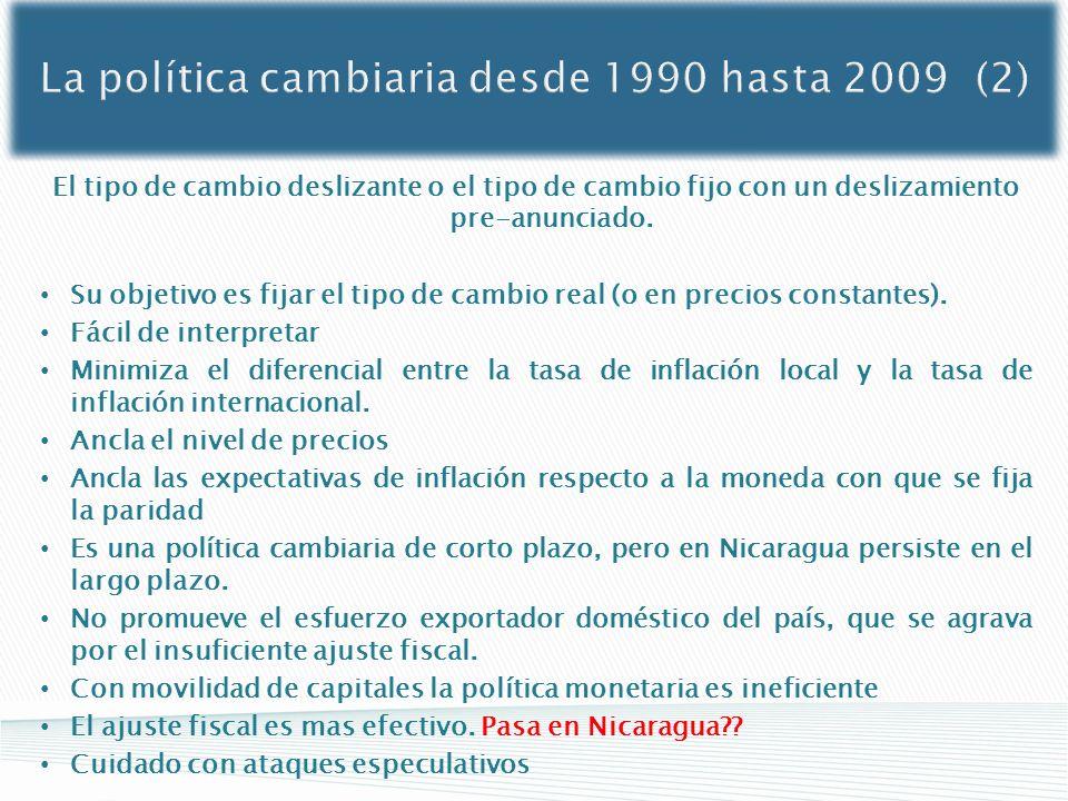 La política cambiaria desde 1990 hasta 2009 (2)