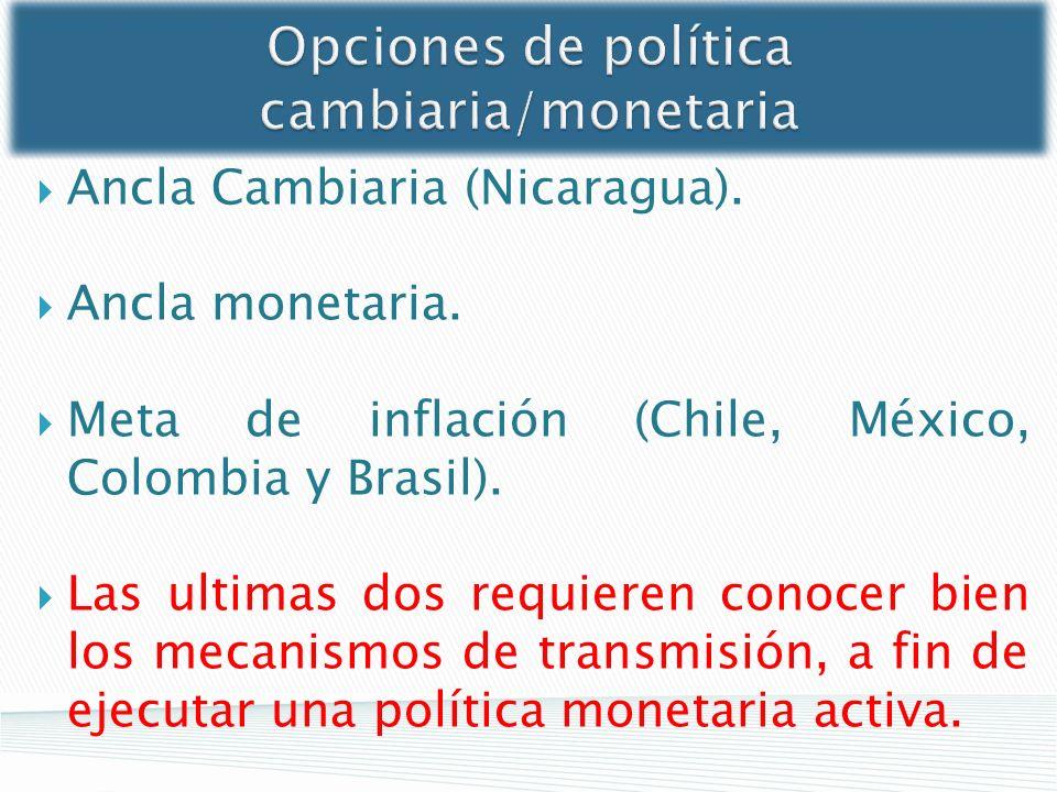 Opciones de política cambiaria/monetaria