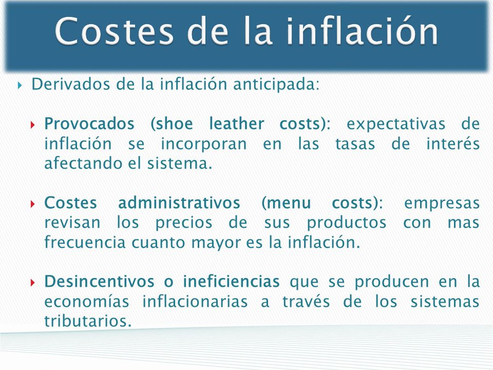 Costes de la inflación Derivados de la inflación anticipada: