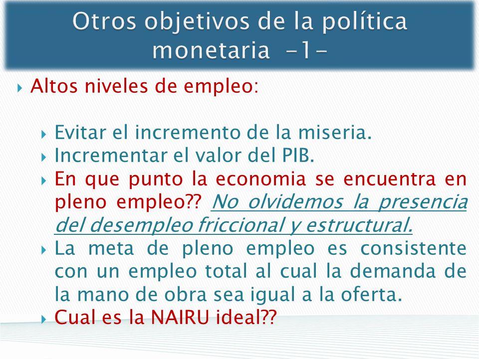 Otros objetivos de la política monetaria -1-