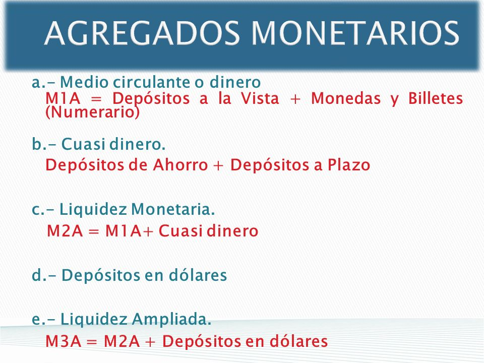 AGREGADOS MONETARIOS a.- Medio circulante o dinero