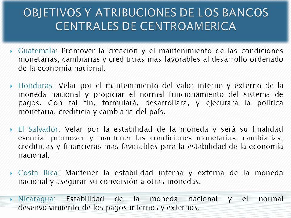 OBJETIVOS Y ATRIBUCIONES DE LOS BANCOS CENTRALES DE CENTROAMERICA