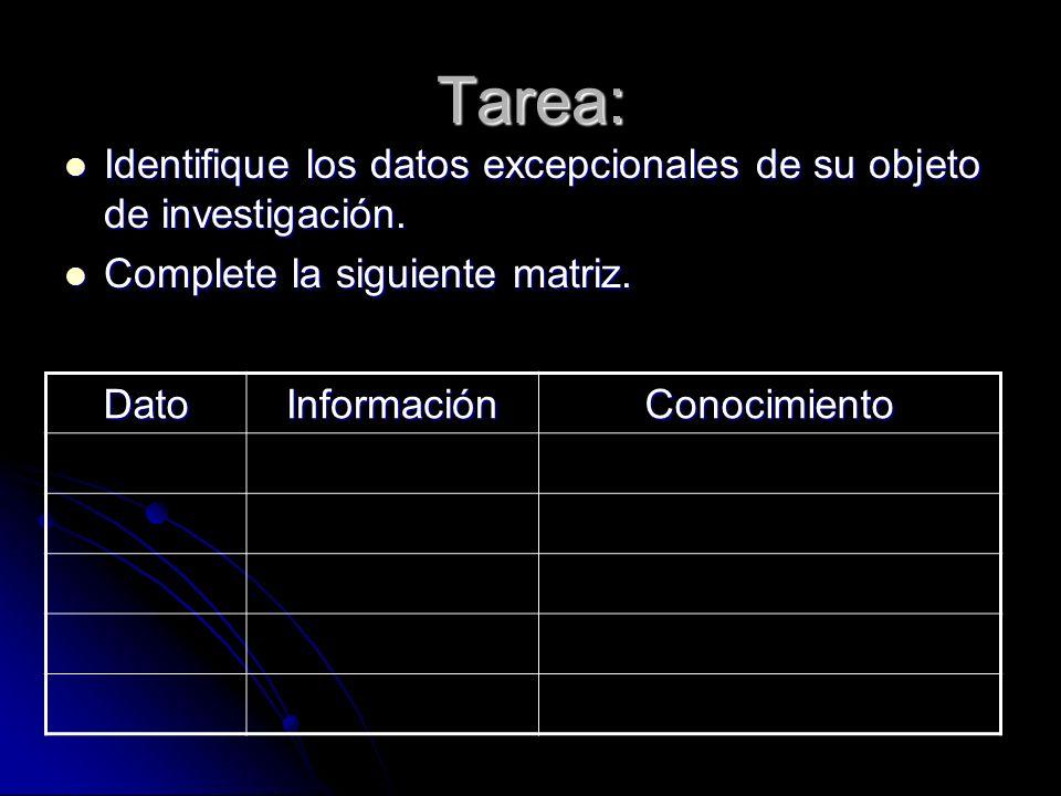Tarea: Identifique los datos excepcionales de su objeto de investigación. Complete la siguiente matriz.