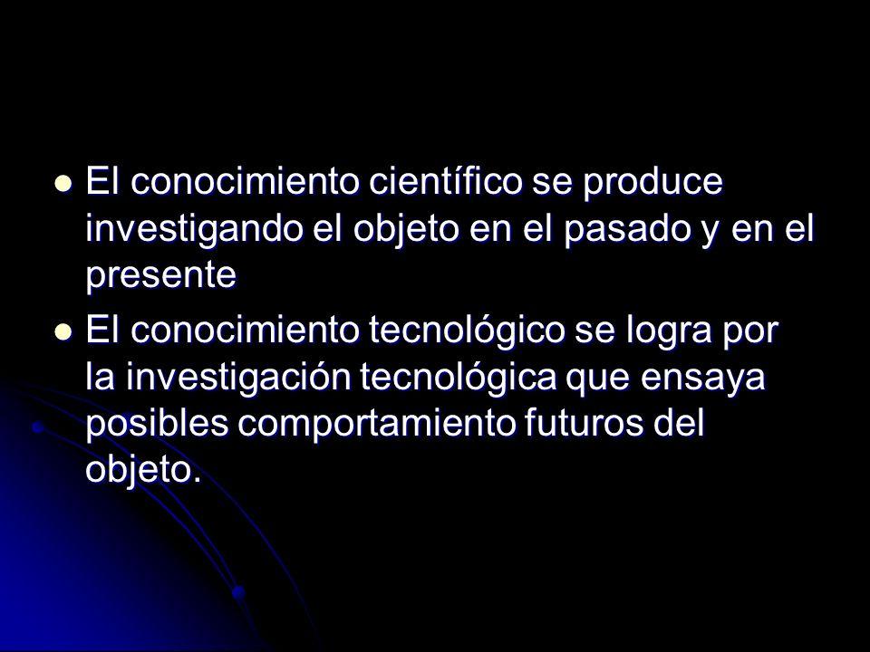 El conocimiento científico se produce investigando el objeto en el pasado y en el presente