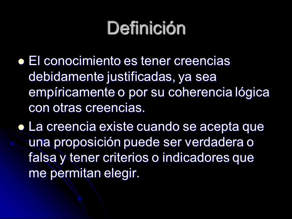 Definición El conocimiento es tener creencias debidamente justificadas, ya sea empíricamente o por su coherencia lógica con otras creencias.