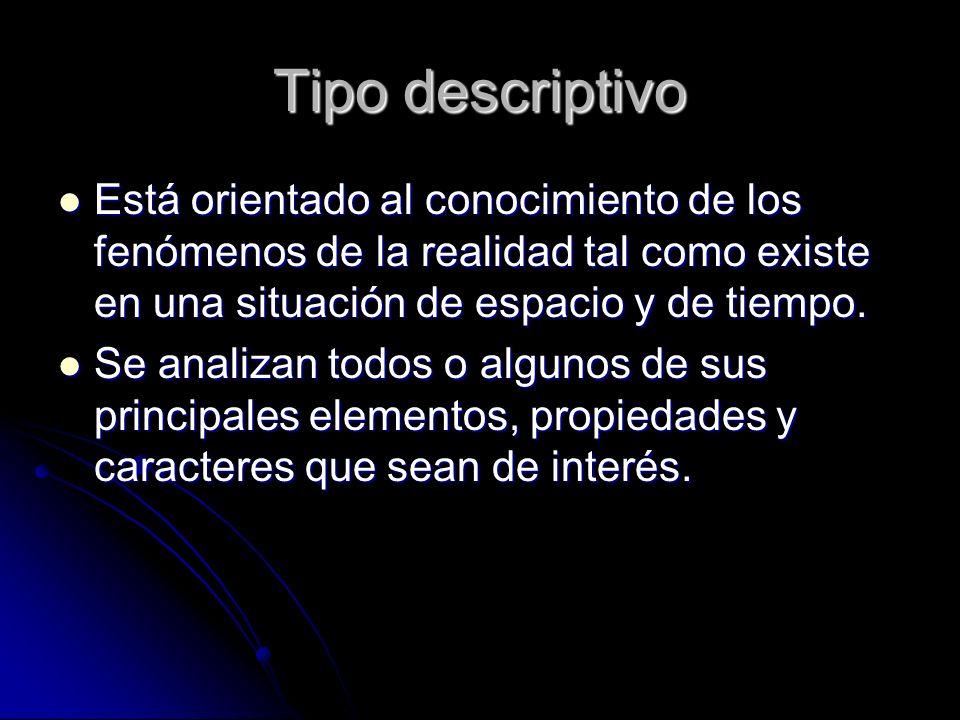 Tipo descriptivo Está orientado al conocimiento de los fenómenos de la realidad tal como existe en una situación de espacio y de tiempo.