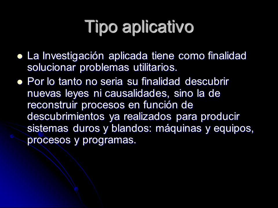 Tipo aplicativo La Investigación aplicada tiene como finalidad solucionar problemas utilitarios.