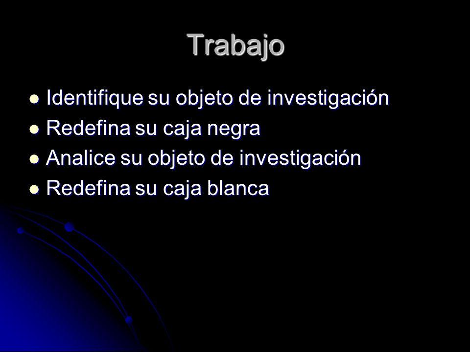 Trabajo Identifique su objeto de investigación Redefina su caja negra