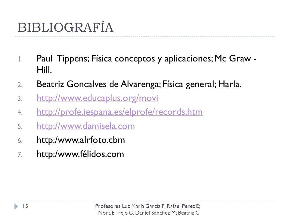 BIBLIOGRAFÍA Paul Tippens; Física conceptos y aplicaciones; Mc Graw - Hill. Beatriz Goncalves de Alvarenga; Física general; Harla.