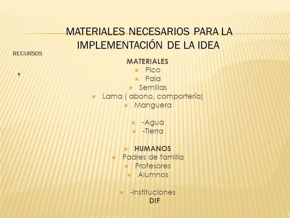. MATERIALES NECESARIOS PARA LA IMPLEMENTACIÓN DE LA IDEA MATERIALES