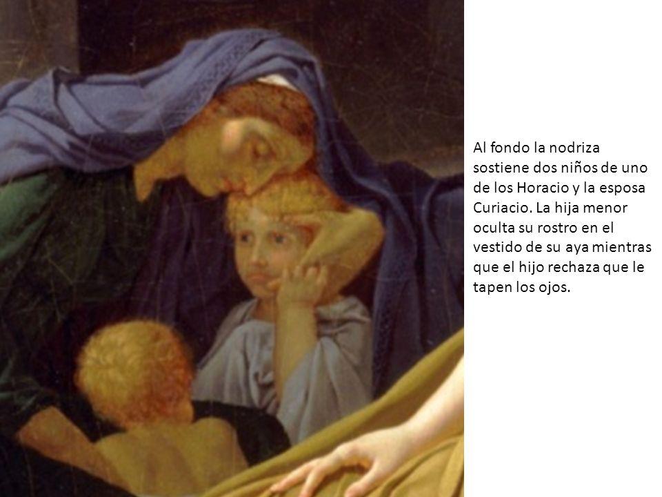 Al fondo la nodriza sostiene dos niños de uno de los Horacio y la esposa Curiacio.