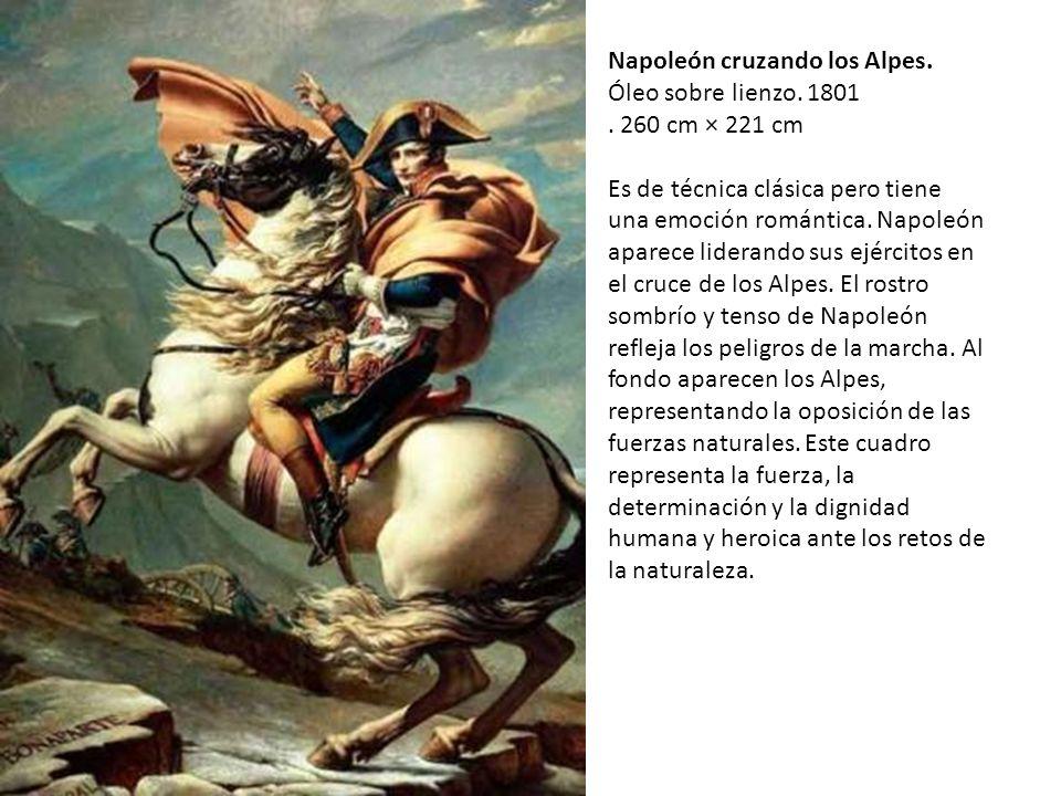 Napoleón cruzando los Alpes.