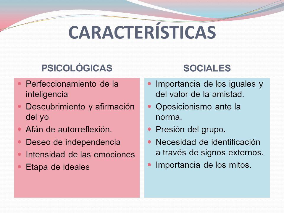 CARACTERÍSTICAS PSICOLÓGICAS SOCIALES