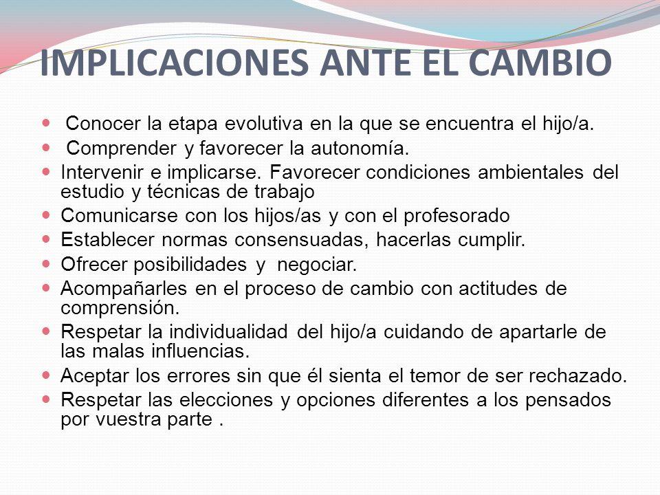 IMPLICACIONES ANTE EL CAMBIO
