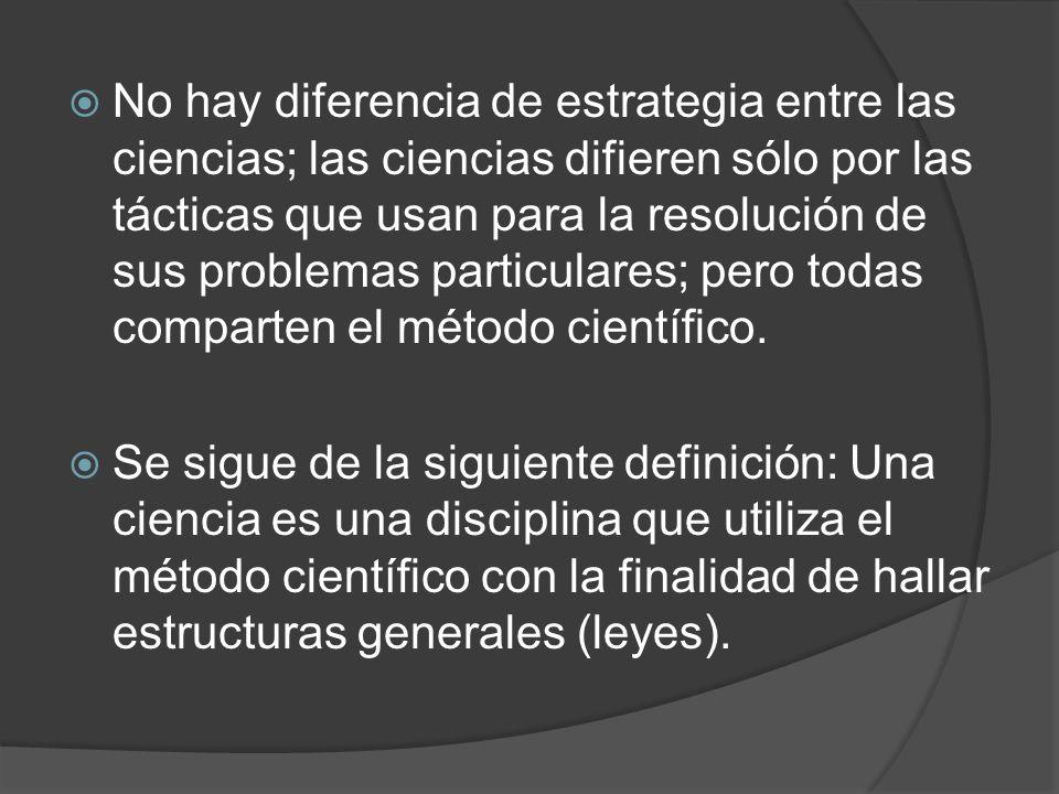 No hay diferencia de estrategia entre las ciencias; las ciencias difieren sólo por las tácticas que usan para la resolución de sus problemas particulares; pero todas comparten el método científico.
