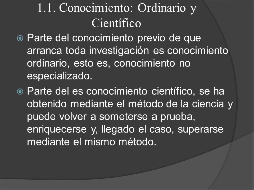 1.1. Conocimiento: Ordinario y Científico