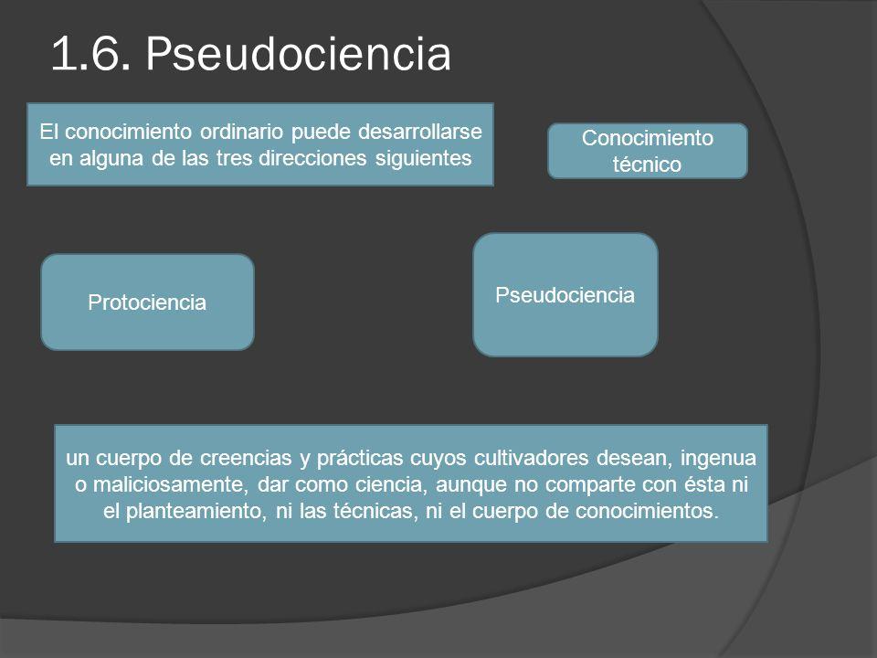 1.6. Pseudociencia El conocimiento ordinario puede desarrollarse en alguna de las tres direcciones siguientes.