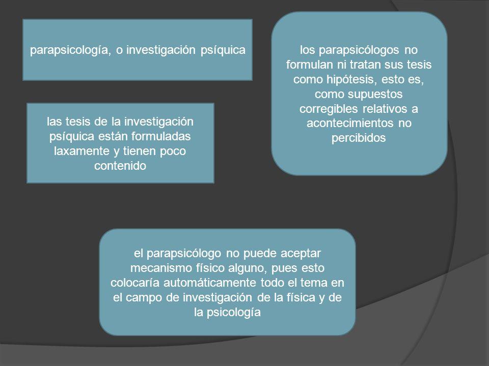 parapsicología, o investigación psíquica