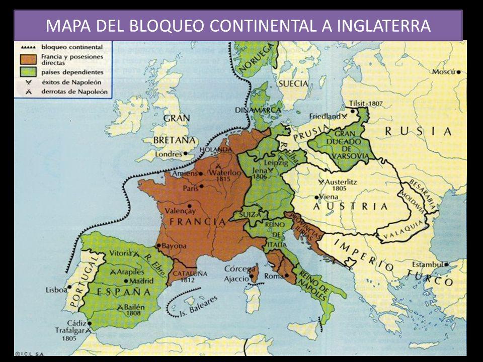 MAPA DEL BLOQUEO CONTINENTAL A INGLATERRA