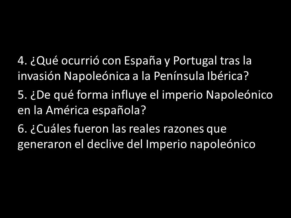 4. ¿Qué ocurrió con España y Portugal tras la invasión Napoleónica a la Península Ibérica.