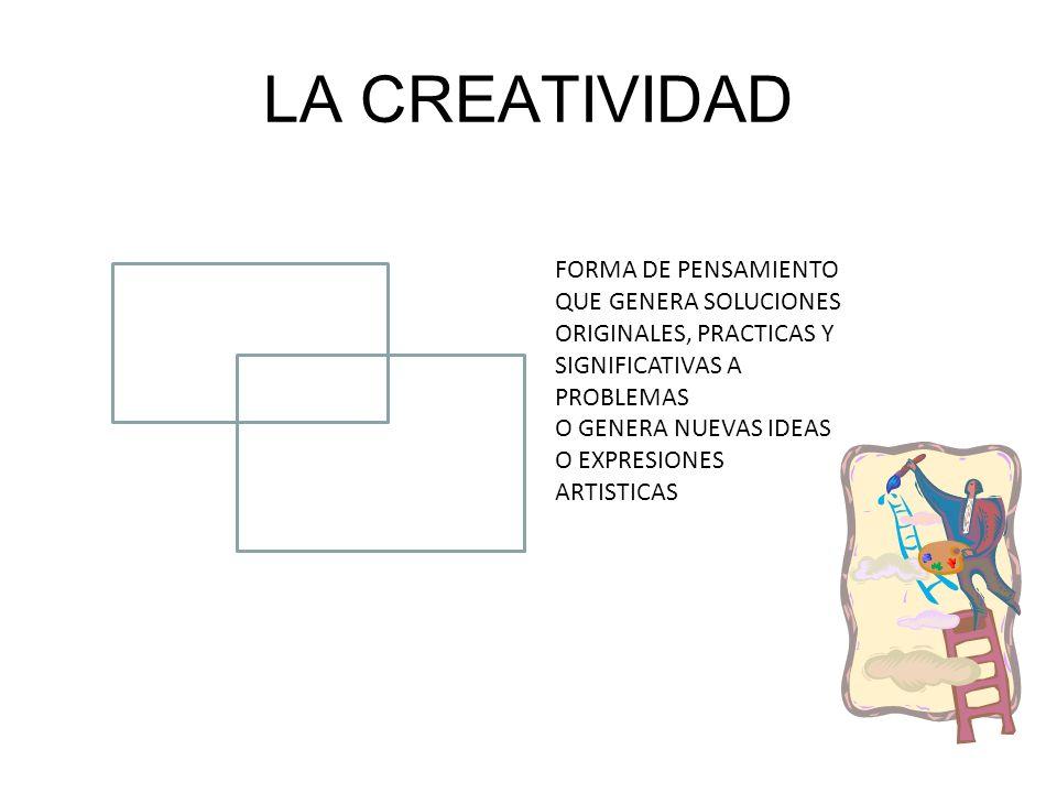 LA CREATIVIDAD FORMA DE PENSAMIENTO QUE GENERA SOLUCIONES ORIGINALES, PRACTICAS Y SIGNIFICATIVAS A PROBLEMAS.