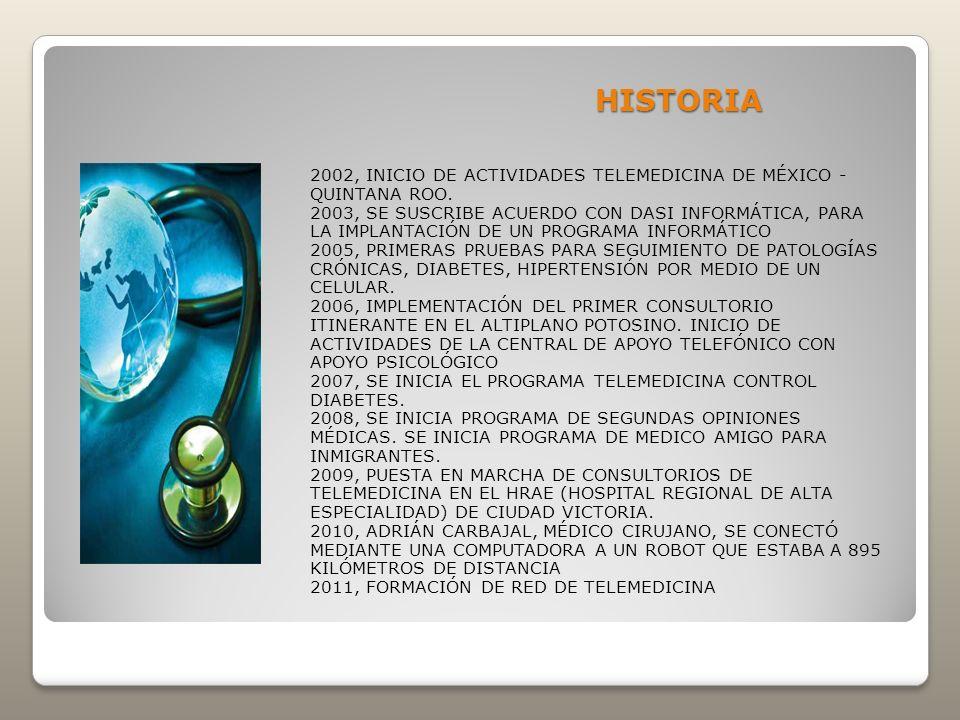 HISTORIA 2002, INICIO DE ACTIVIDADES TELEMEDICINA DE MÉXICO - QUINTANA ROO.