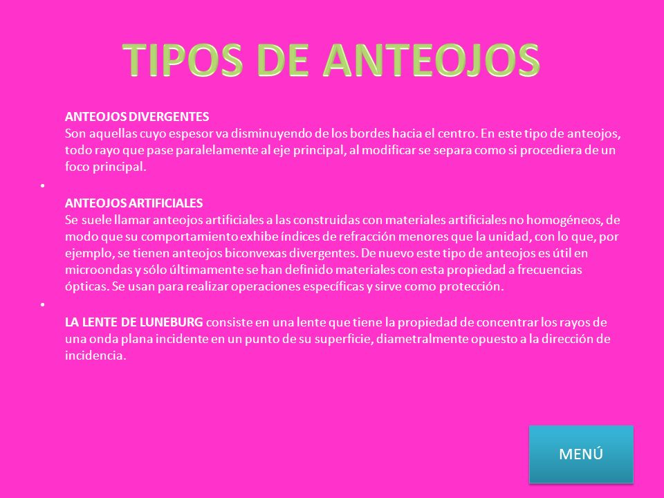 TIPOS DE ANTEOJOS
