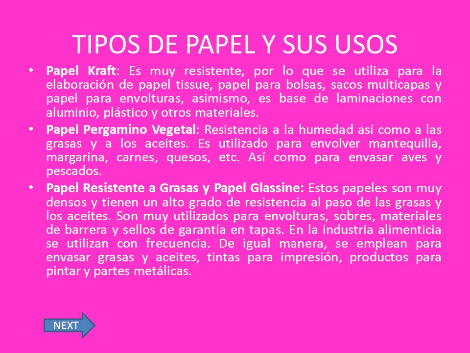 TIPOS DE PAPEL Y SUS USOS