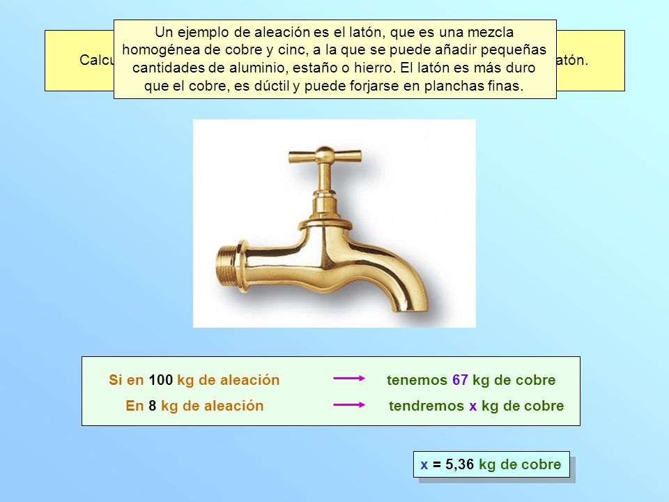 El latón ordinario contiene 67 % de cobre y 33 % de cinc.