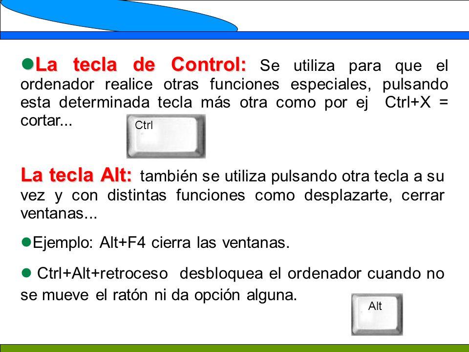 La tecla de Control: Se utiliza para que el ordenador realice otras funciones especiales, pulsando esta determinada tecla más otra como por ej Ctrl+X = cortar...