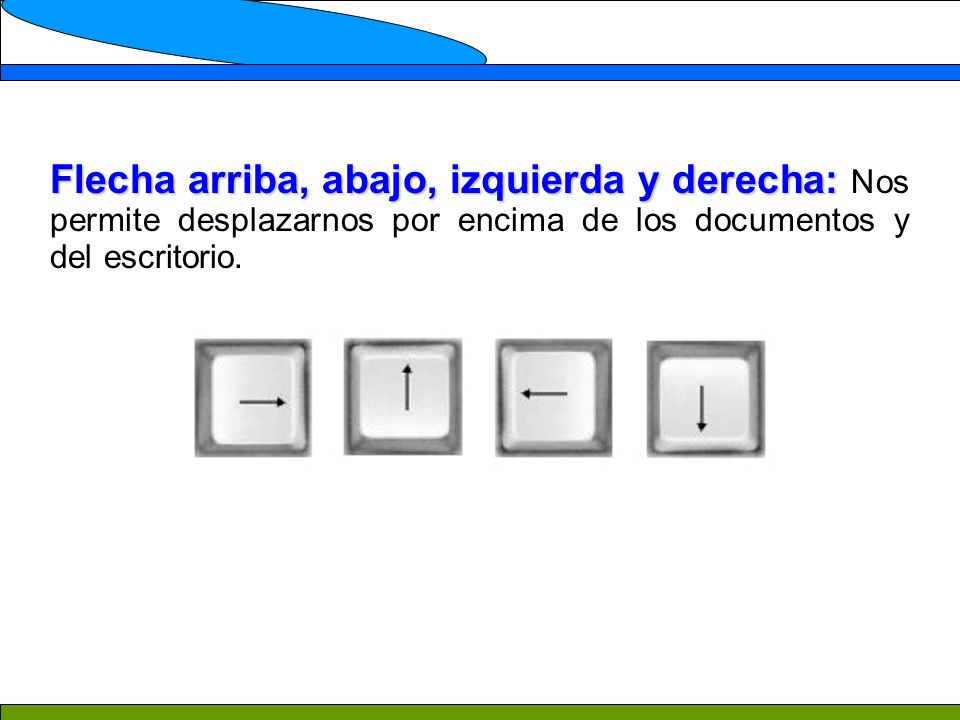 Flecha arriba, abajo, izquierda y derecha: Nos permite desplazarnos por encima de los documentos y del escritorio.