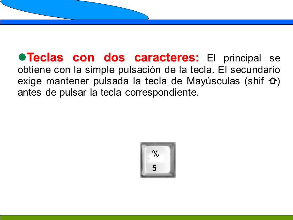 Teclas con dos caracteres: El principal se obtiene con la simple pulsación de la tecla. El secundario exige mantener pulsada la tecla de Mayúsculas (shif ) antes de pulsar la tecla correspondiente.