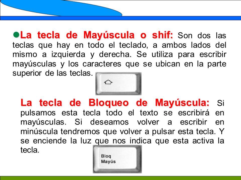 La tecla de Mayúscula o shif: Son dos las teclas que hay en todo el teclado, a ambos lados del mismo a izquierda y derecha. Se utiliza para escribir mayúsculas y los caracteres que se ubican en la parte superior de las teclas.