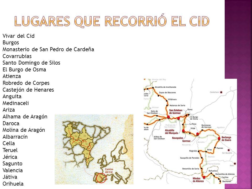 Lugares que recorrió el Cid