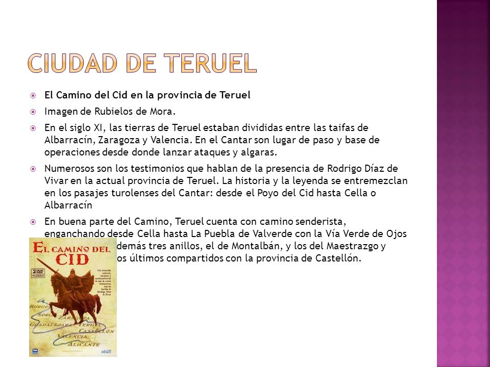 Ciudad de Teruel El Camino del Cid en la provincia de Teruel